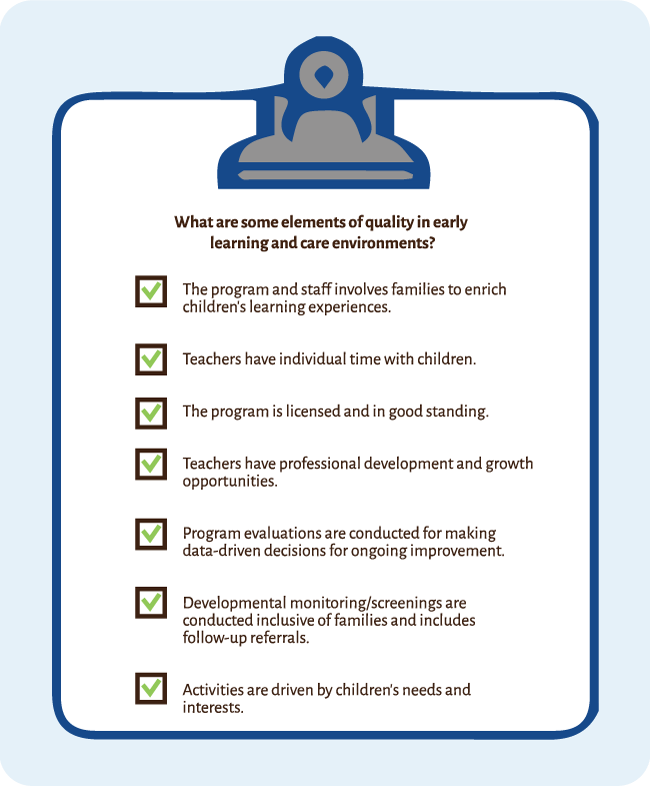Checklist of Elements of Quality in Early Learning and Care Environments